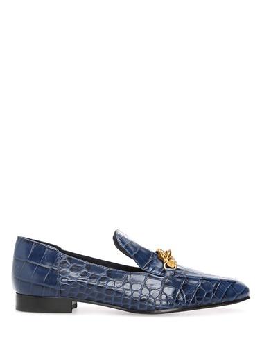 Tory Burch %100 Deri Loafer Ayakkabı Lacivert